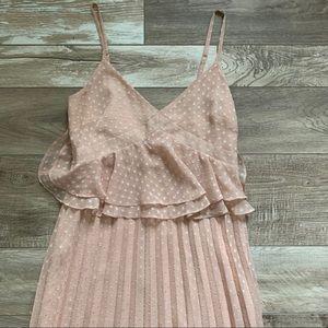 Peach pleated peplum polka dot maxi dress